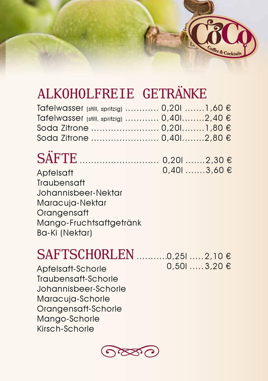 Alkoholfreie Getränke, Säfte und Saftschorlen