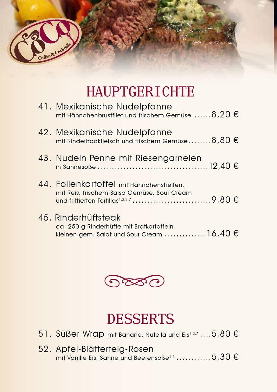 Hauptgerichte und Desserts