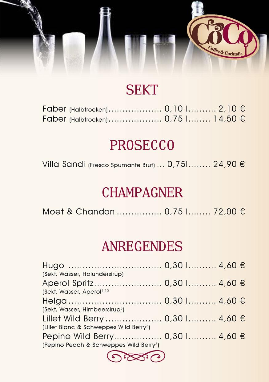 Sekt, Prosecco, Champagner und Anregendes