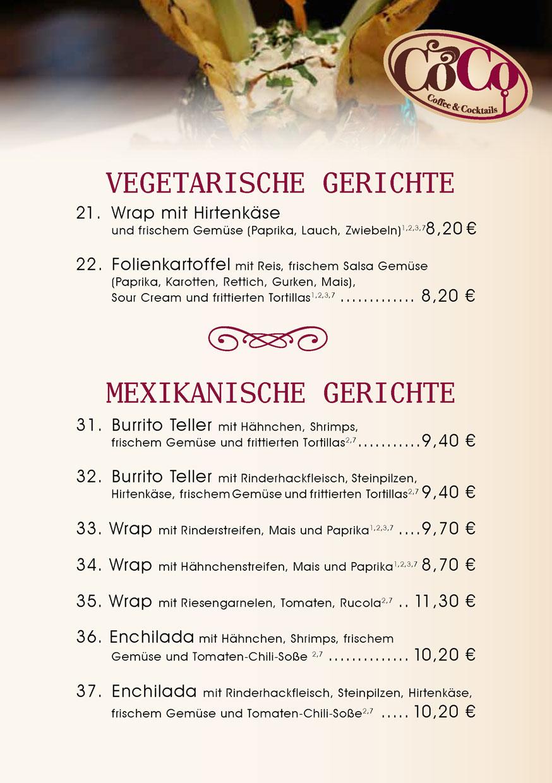 Vegetarische und mexikanische Gerichte